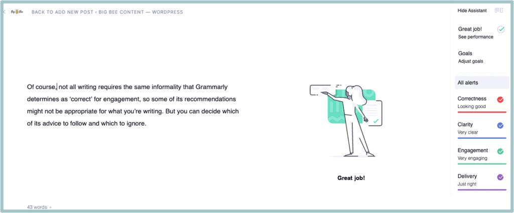 Screengrab of Grammarly analysis