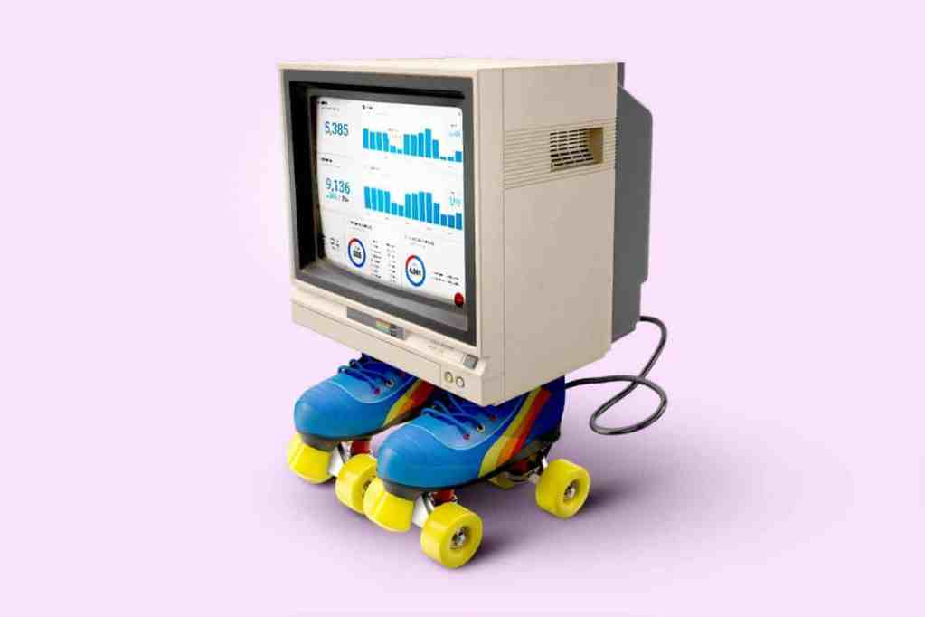 Computer from the 80s wearing roller skates with analytics on the screen