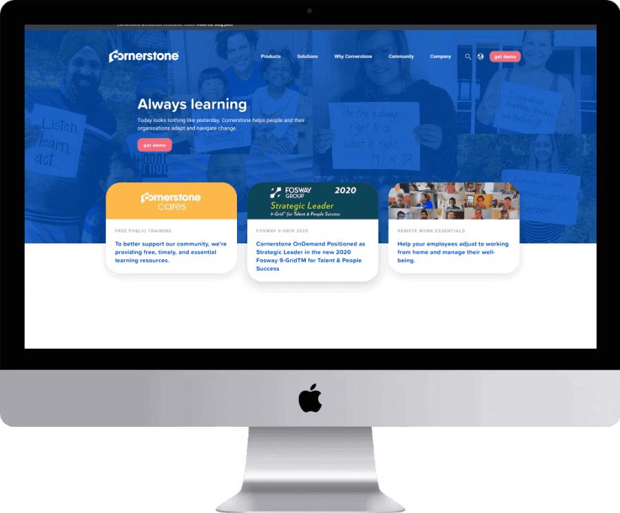 Cornerstone website shows on desktop