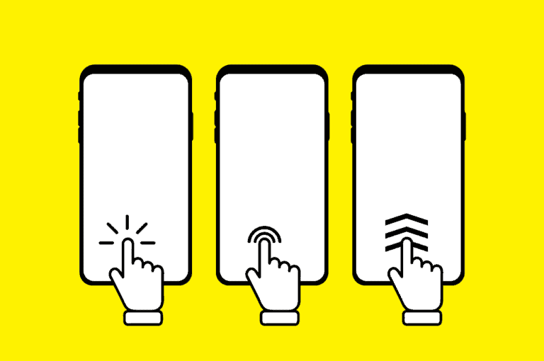 Graphic of three phones with fingers pressing differently designed calls to action