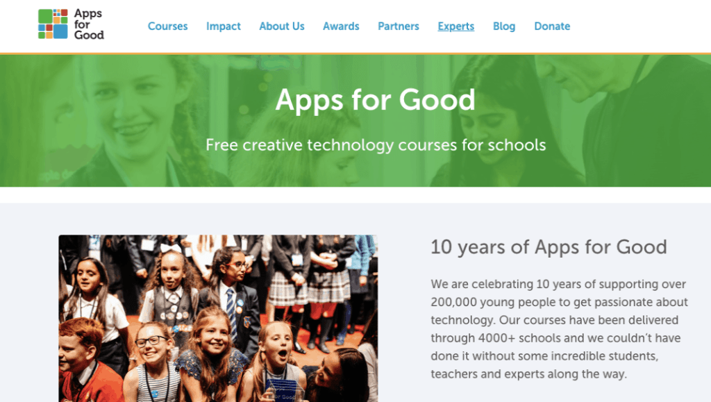 Apps for good homepage screenshot