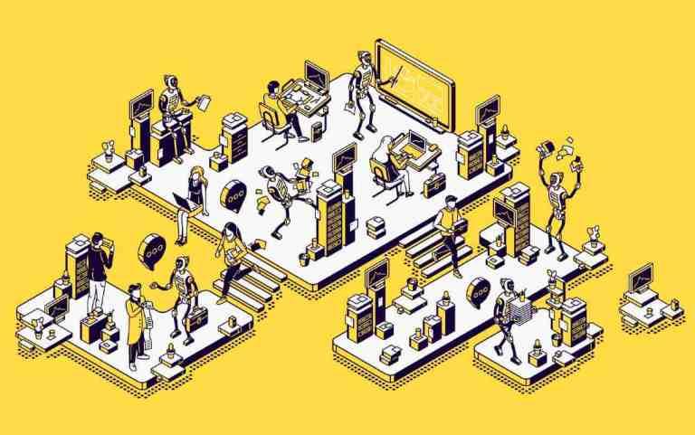 Robot people cartoon graphics
